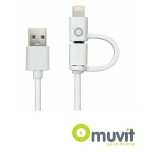 Cable doble entrada micro USB + Lightening 2.4A Blanco