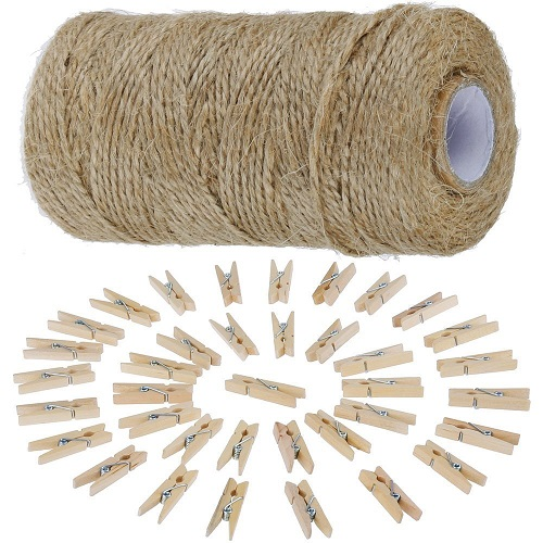 Anpro 812cm Jute Twine String and 50 psc Mini Wooden Pegs